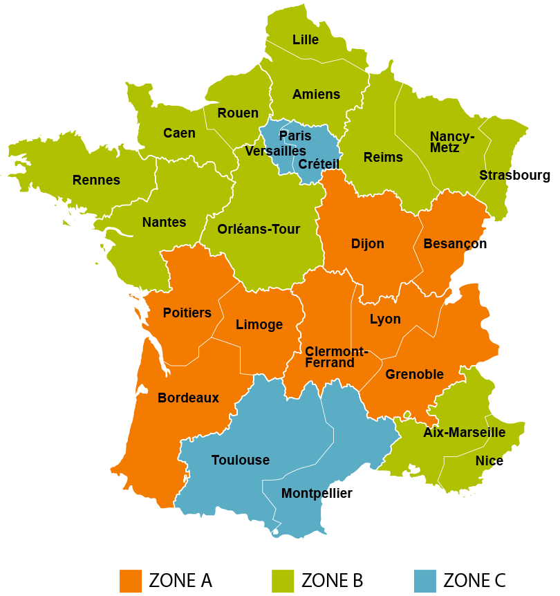 Map Of France Zones.French School Holidays
